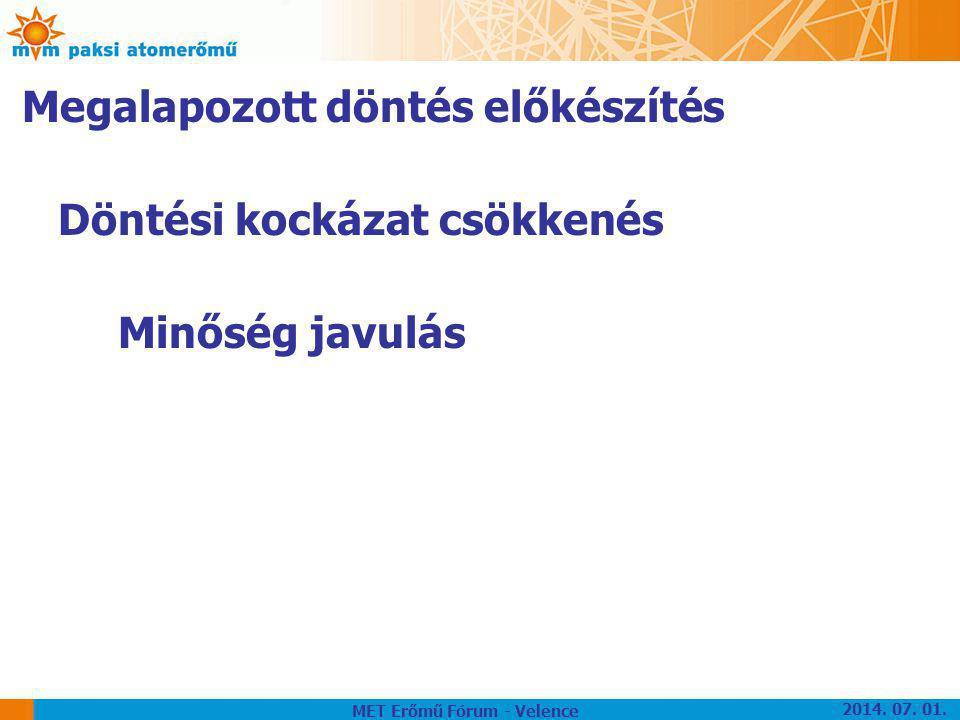 Megalapozott döntés előkészítés Döntési kockázat csökkenés Minőség javulás MET Erőmű Fórum - Velence 2014. 07. 01.