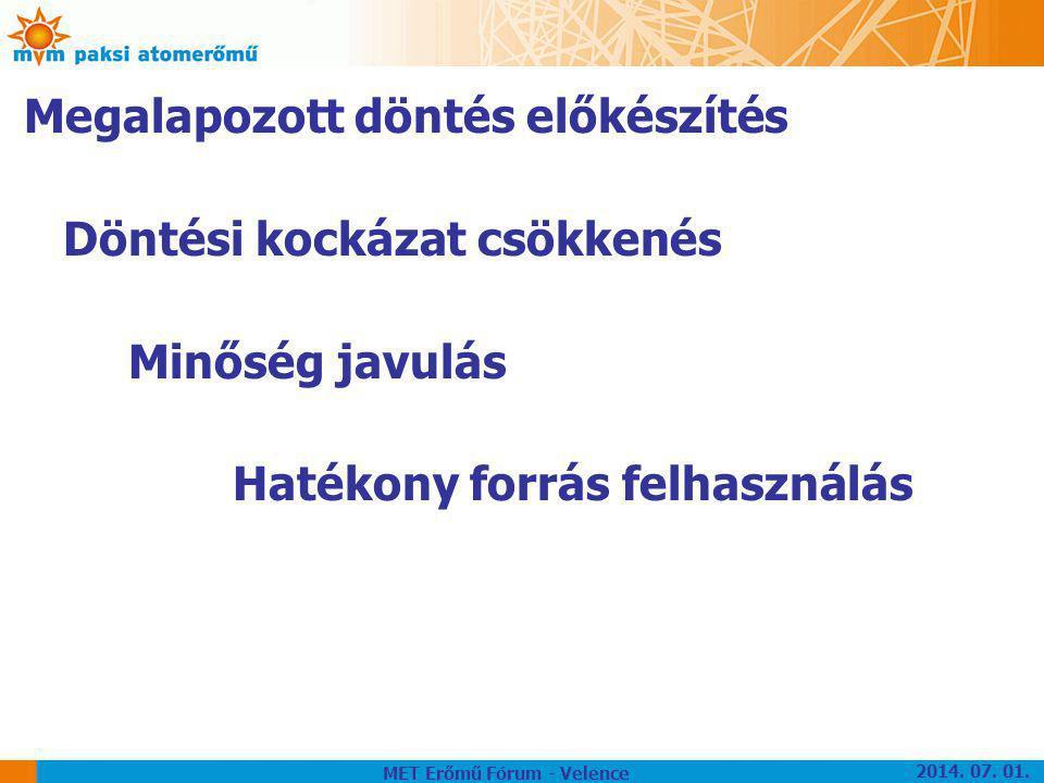Megalapozott döntés előkészítés Döntési kockázat csökkenés Minőség javulás Hatékony forrás felhasználás MET Erőmű Fórum - Velence 2014. 07. 01.