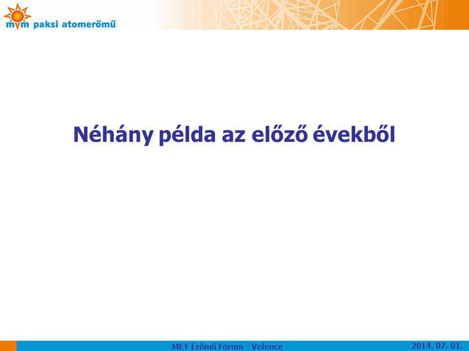 Néhány példa az előző évekből MET Erőmű Fórum - Velence 2014. 07. 01.