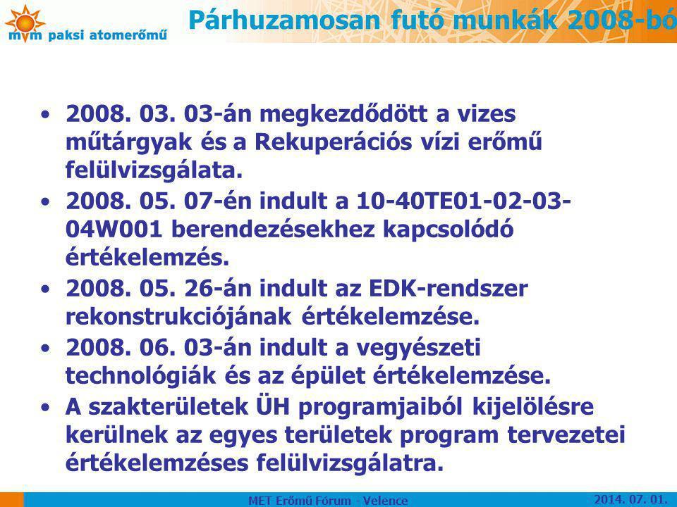 Párhuzamosan futó munkák 2008-ból •2008. 03. 03-án megkezdődött a vizes műtárgyak és a Rekuperációs vízi erőmű felülvizsgálata. •2008. 05. 07-én indul