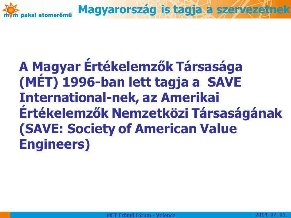 Magyarország is tagja a szervezetnek A Magyar Értékelemzők Társasága (MÉT) 1996-ban lett tagja a SAVE International-nek, az Amerikai Értékelemzők Nemz