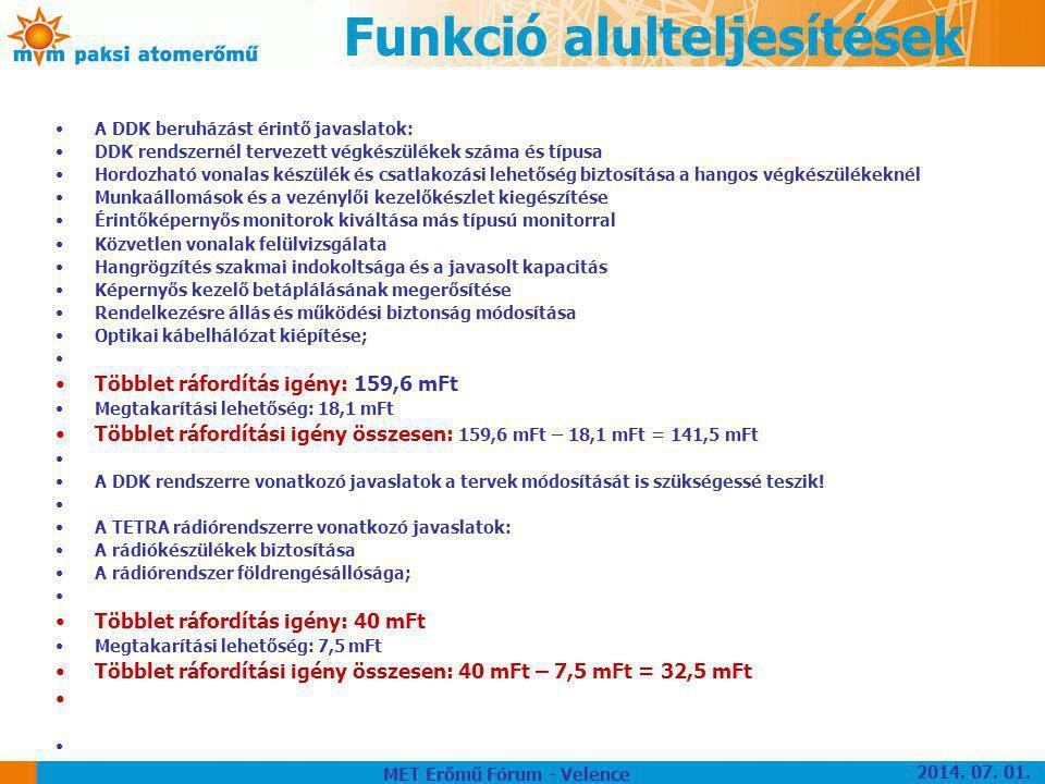 Funkció alulteljesítések •A DDK beruházást érintő javaslatok: •DDK rendszernél tervezett végkészülékek száma és típusa •Hordozható vonalas készülék és