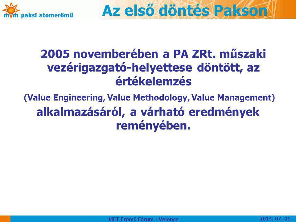 Az első döntés Pakson 2005 novemberében a PA ZRt. műszaki vezérigazgató-helyettese döntött, az értékelemzés (Value Engineering, Value Methodology, Val