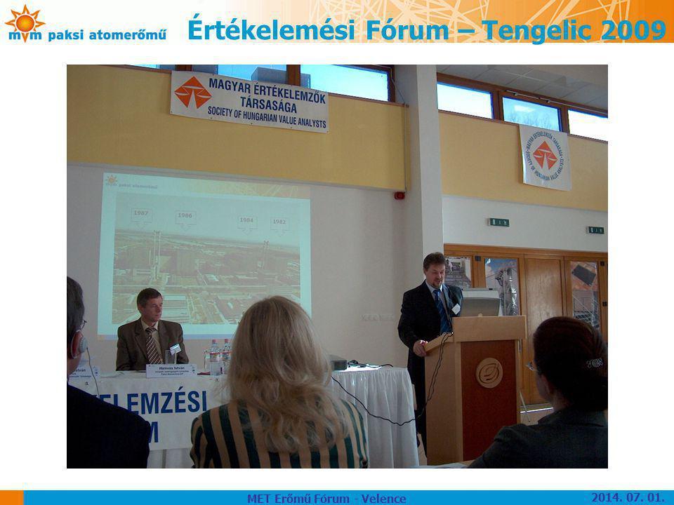Értékelemési Fórum – Tengelic 2009 MET Erőmű Fórum - Velence 2014. 07. 01.