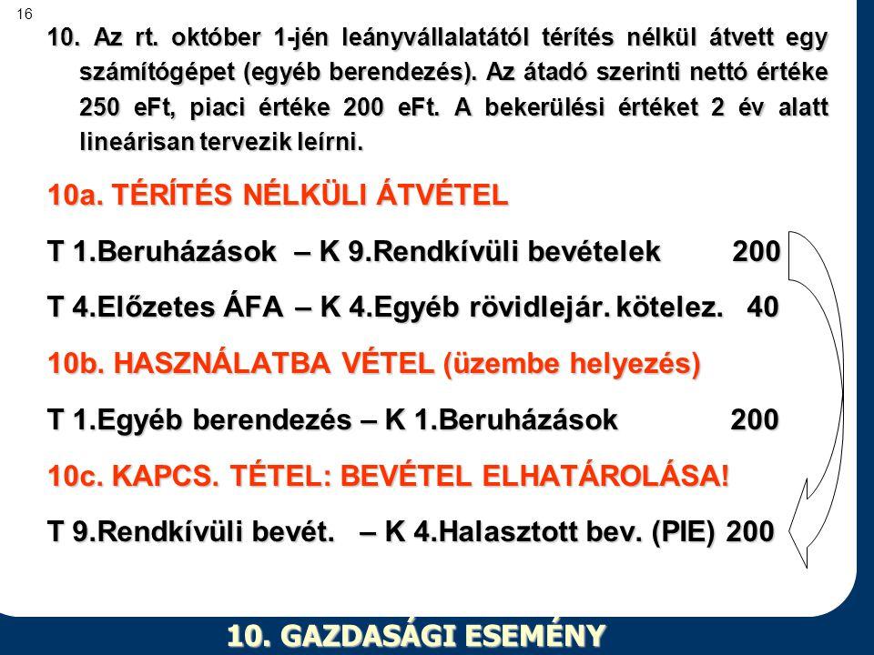 16 10. GAZDASÁGI ESEMÉNY 10. Az rt. október 1-jén leányvállalatától térítés nélkül átvett egy számítógépet (egyéb berendezés). Az átadó szerinti nettó