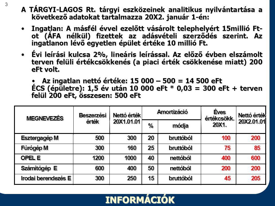 3INFORMÁCIÓK A TÁRGYI-LAGOS Rt. tárgyi eszközeinek analitikus nyilvántartása a következő adatokat tartalmazza 20X2. január 1-én: •Ingatlan: A másfél é
