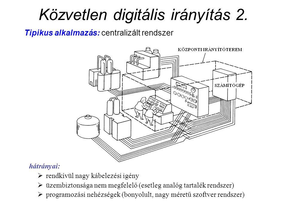 Közvetlen digitális irányítás 2. Tipikus alkalmazás: centralizált rendszer hátrányai:  rendkívül nagy kábelezési igény  üzembiztonsága nem megfelelő
