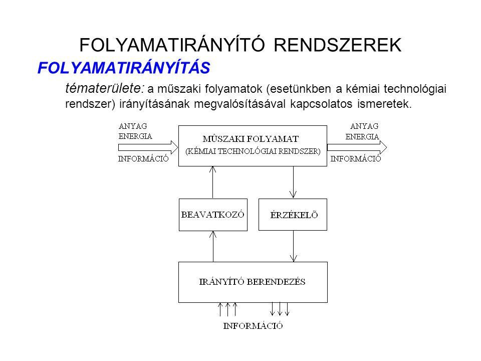 FOLYAMATIRÁNYÍTÓ RENDSZEREK FOLYAMATIRÁNYÍTÁS tématerülete: a műszaki folyamatok (esetünkben a kémiai technológiai rendszer) irányításának megvalósítá