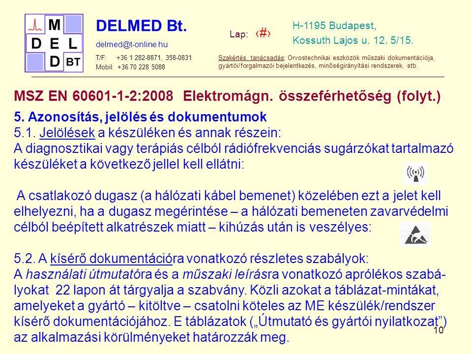 DELMED Bt. Lap: ‹#› H-1195 Budapest, Kossuth Lajos u. 12. 5/15. delmed@t-online.hu T/F: +36 1 282-8871, 358-0831 Mobil: +36 70 228 5088 Szakértés, tan