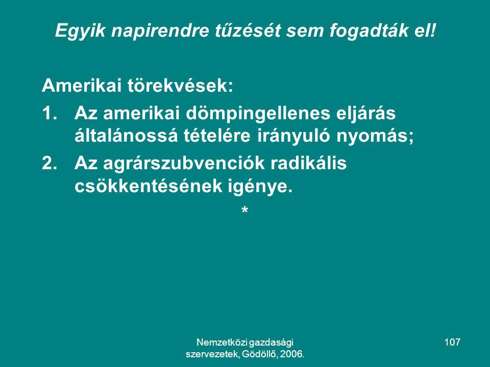 Nemzetközi gazdasági szervezetek, Gödöllő, 2006.107 Egyik napirendre tűzését sem fogadták el.