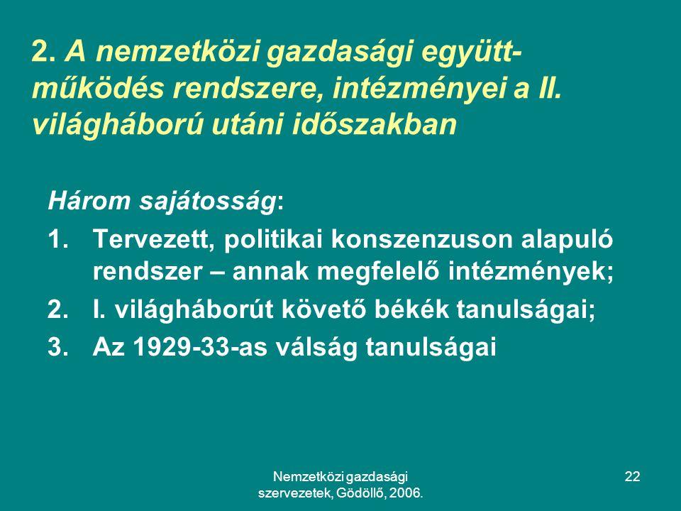 Nemzetközi gazdasági szervezetek, Gödöllő, 2006.22 2.