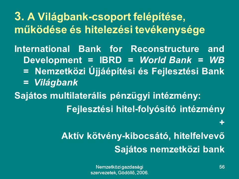 Nemzetközi gazdasági szervezetek, Gödöllő, 2006.56 3.