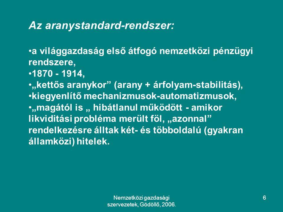 Nemzetközi gazdasági szervezetek, Gödöllő, 2006.77 4.2.