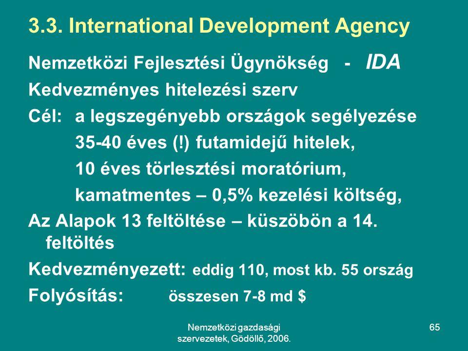 Nemzetközi gazdasági szervezetek, Gödöllő, 2006.65 3.3.