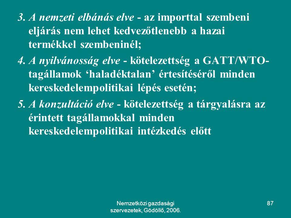 Nemzetközi gazdasági szervezetek, Gödöllő, 2006.87 3.