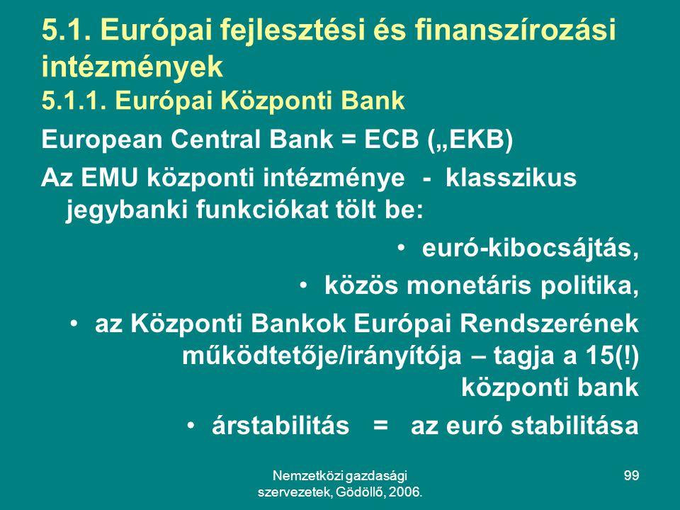 Nemzetközi gazdasági szervezetek, Gödöllő, 2006.99 5.1.