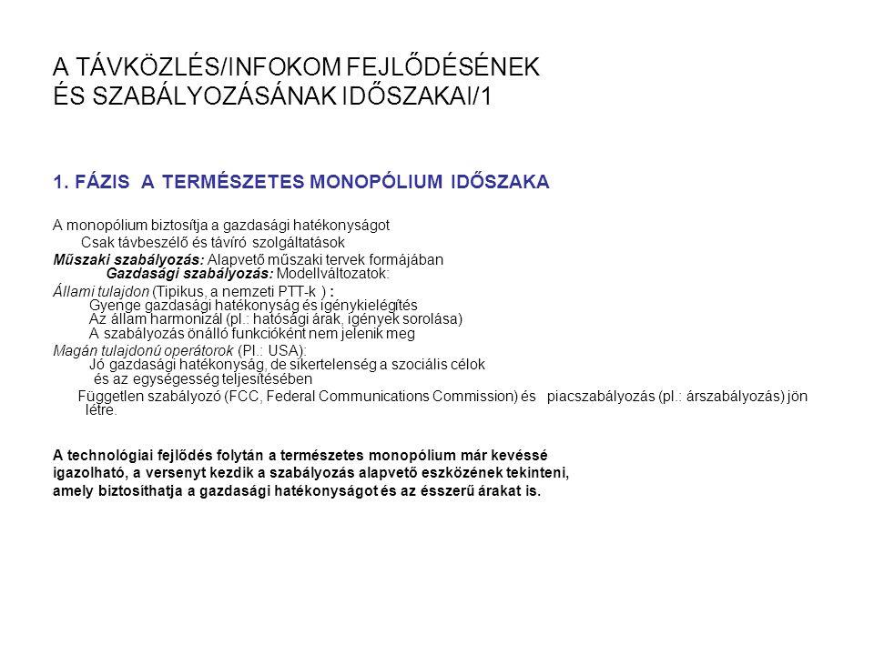 A TÁVKÖZLÉS/INFOKOM FEJLŐDÉSÉNEK ÉS SZABÁLYOZÁSÁNAK IDŐSZAKAI/1 1.
