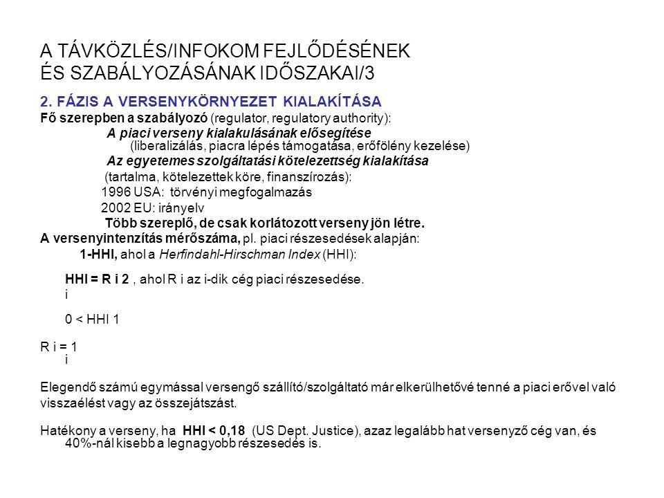 A TÁVKÖZLÉS/INFOKOM FEJLŐDÉSÉNEK ÉS SZABÁLYOZÁSÁNAK IDŐSZAKAI/3 2.