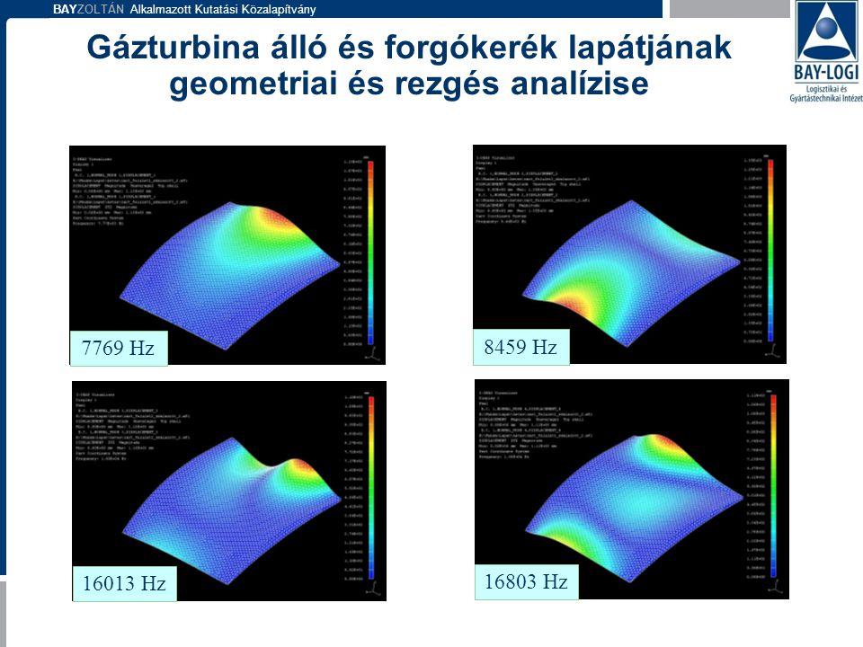 BAYZOLTÁN Alkalmazott Kutatási Közalapítvány 7769 Hz 8459 Hz 16013 Hz 16803 Hz Gázturbina álló és forgókerék lapátjának geometriai és rezgés analízise
