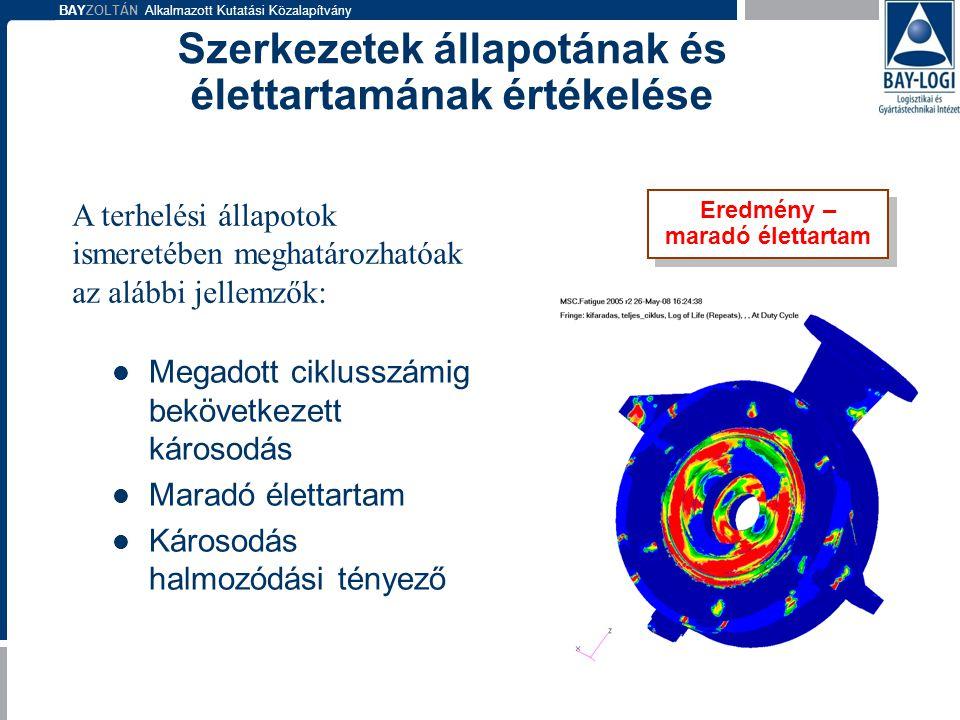 BAYZOLTÁN Alkalmazott Kutatási Közalapítvány  Megadott ciklusszámig bekövetkezett károsodás  Maradó élettartam  Károsodás halmozódási tényező Eredm
