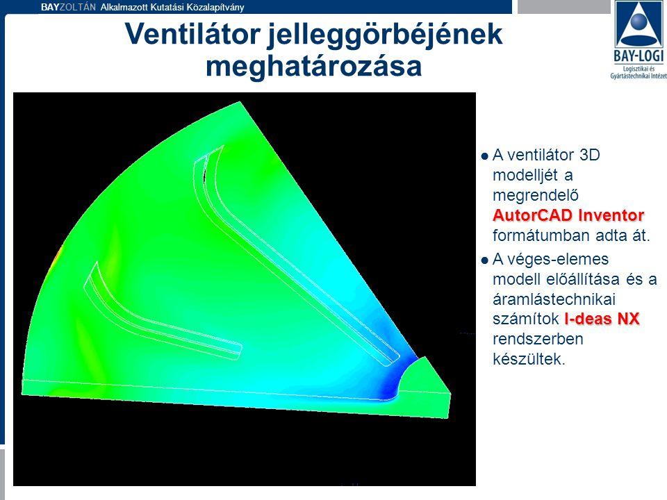 BAYZOLTÁN Alkalmazott Kutatási Közalapítvány AutorCAD Inventor  A ventilátor 3D modelljét a megrendelő AutorCAD Inventor formátumban adta át. I-deas