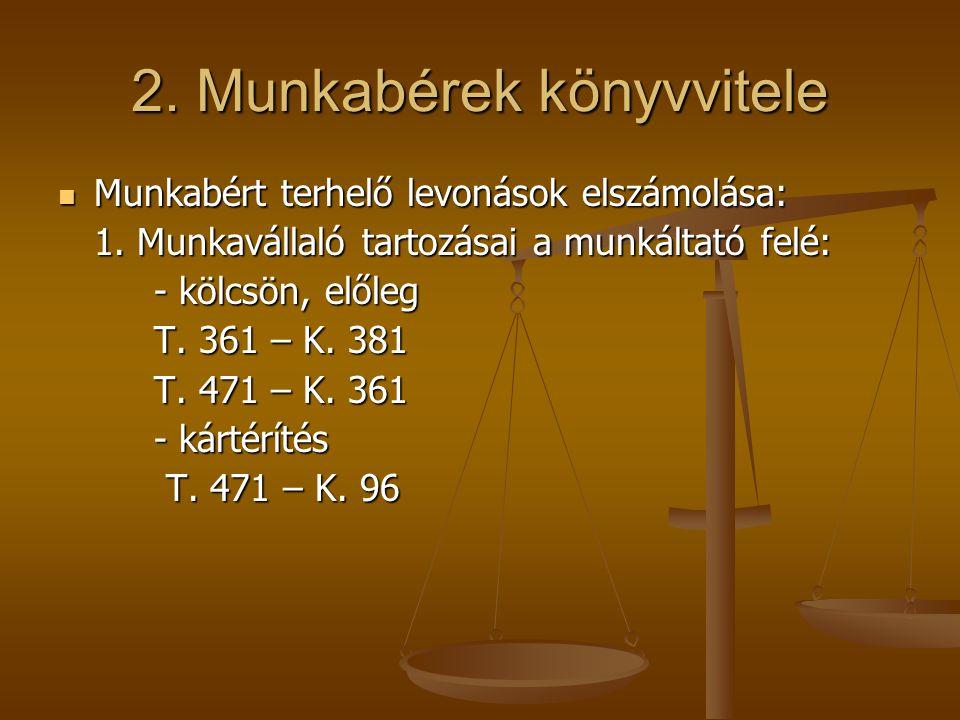 2. Munkabérek könyvvitele  Munkabért terhelő levonások elszámolása: 1. Munkavállaló tartozásai a munkáltató felé: - kölcsön, előleg T. 361 – K. 381 T