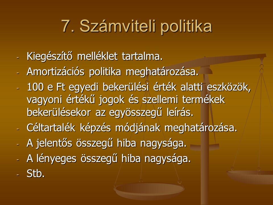 7. Számviteli politika - Kiegészítő melléklet tartalma. - Amortizációs politika meghatározása. - 100 e Ft egyedi bekerülési érték alatti eszközök, vag