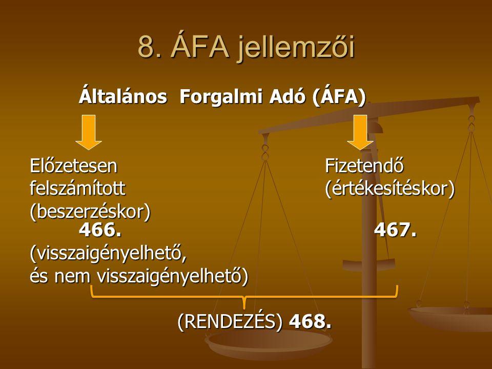 8. ÁFA jellemzői Általános Forgalmi Adó (ÁFA) ElőzetesenFizetendő felszámított (értékesítéskor) (beszerzéskor) 466.467. (visszaigényelhető, és nem vis