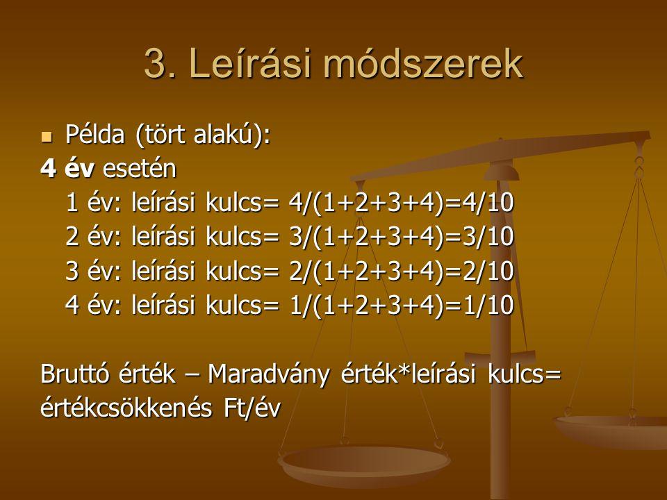 3. Leírási módszerek  Példa (tört alakú): 4 év esetén 1 év: leírási kulcs= 4/(1+2+3+4)=4/10 2 év: leírási kulcs= 3/(1+2+3+4)=3/10 3 év: leírási kulcs