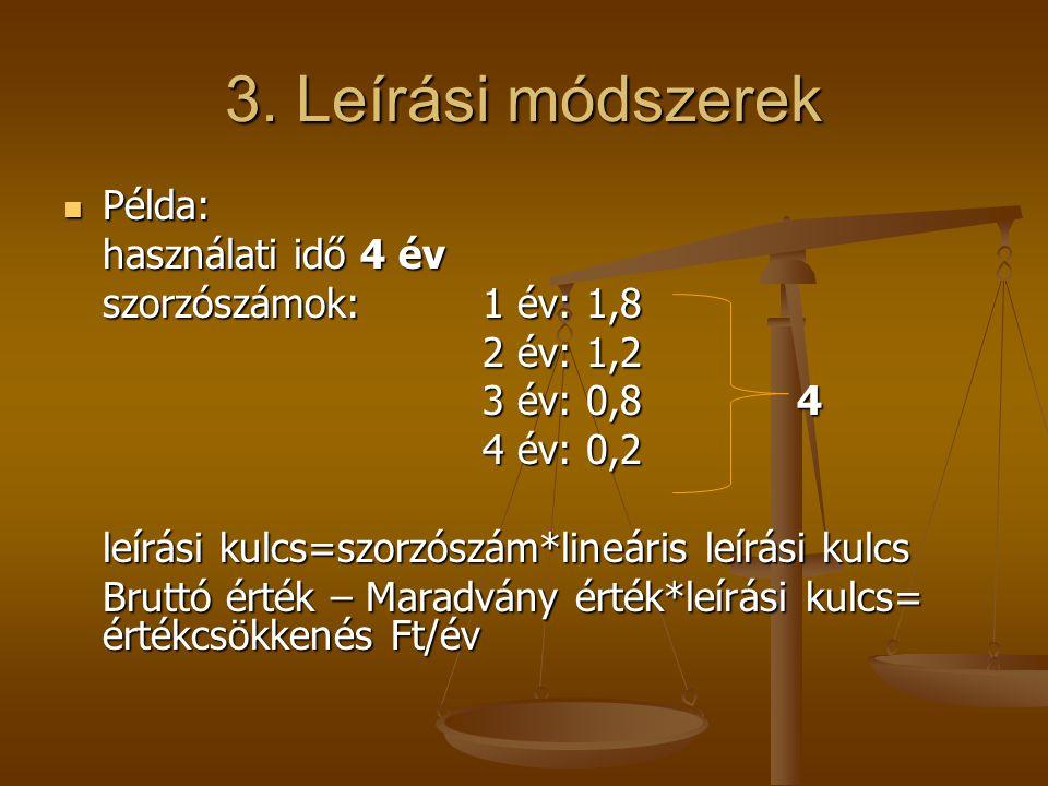3. Leírási módszerek  Példa: használati idő 4 év szorzószámok:1 év: 1,8 2 év: 1,2 3 év: 0,8 4 4 év: 0,2 leírási kulcs=szorzószám*lineáris leírási kul