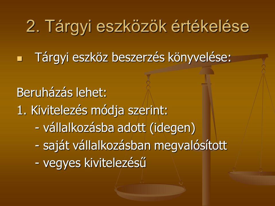 2. Tárgyi eszközök értékelése  Tárgyi eszköz beszerzés könyvelése: Beruházás lehet: 1. Kivitelezés módja szerint: - vállalkozásba adott (idegen) - sa