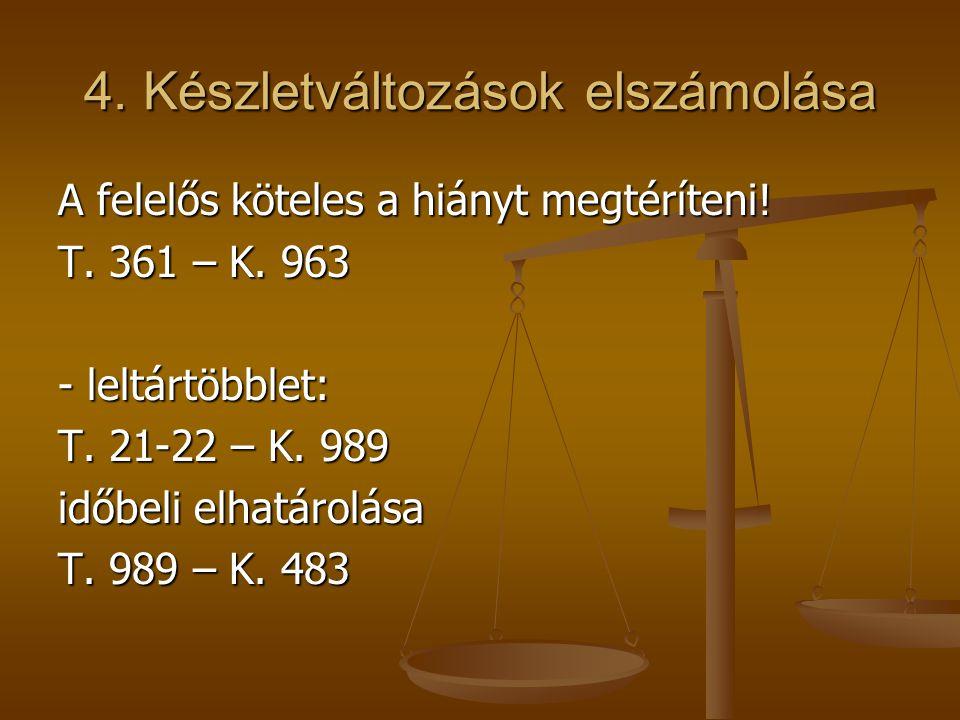 4. Készletváltozások elszámolása A felelős köteles a hiányt megtéríteni! T. 361 – K. 963 - leltártöbblet: T. 21-22 – K. 989 időbeli elhatárolása T. 98