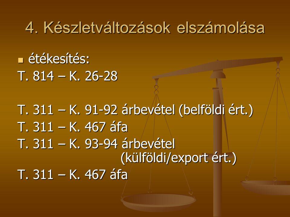 4. Készletváltozások elszámolása  étékesítés: T. 814 – K. 26-28 T. 311 – K. 91-92 árbevétel (belföldi ért.) T. 311 – K. 467 áfa T. 311 – K. 93-94 árb