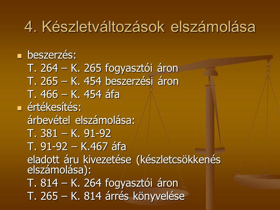 4. Készletváltozások elszámolása  beszerzés: T. 264 – K. 265 fogyasztói áron T. 265 – K. 454 beszerzési áron T. 466 – K. 454 áfa  értékesítés: árbev