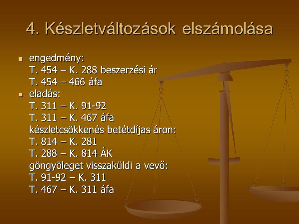 4. Készletváltozások elszámolása  engedmény: T. 454 – K. 288 beszerzési ár T. 454 – 466 áfa  eladás: T. 311 – K. 91-92 T. 311 – K. 467 áfa készletcs