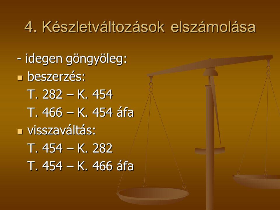 4. Készletváltozások elszámolása - idegen göngyöleg:  beszerzés: T. 282 – K. 454 T. 466 – K. 454 áfa  visszaváltás: T. 454 – K. 282 T. 454 – K. 466