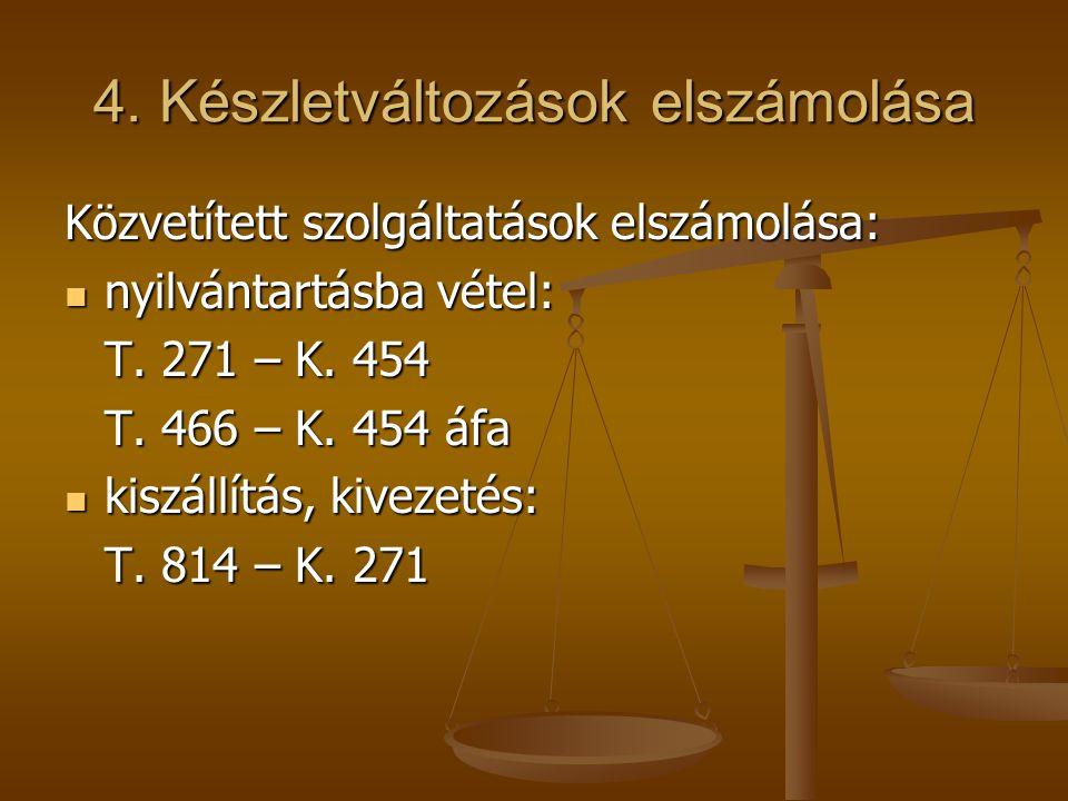 4. Készletváltozások elszámolása Közvetített szolgáltatások elszámolása:  nyilvántartásba vétel: T. 271 – K. 454 T. 466 – K. 454 áfa  kiszállítás, k