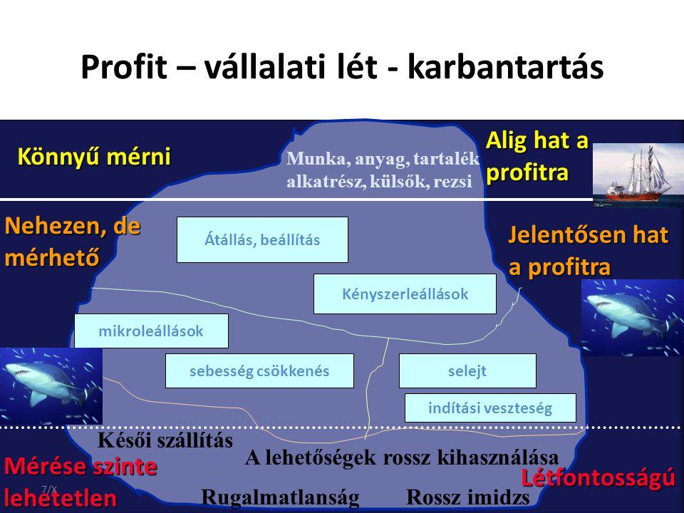 Profit – vállalati lét - karbantartás Munka, anyag, tartalék alkatrész, külsők, rezsi Könnyű mérni Alig hat a profitra Átállás, beállítás Kényszerleál