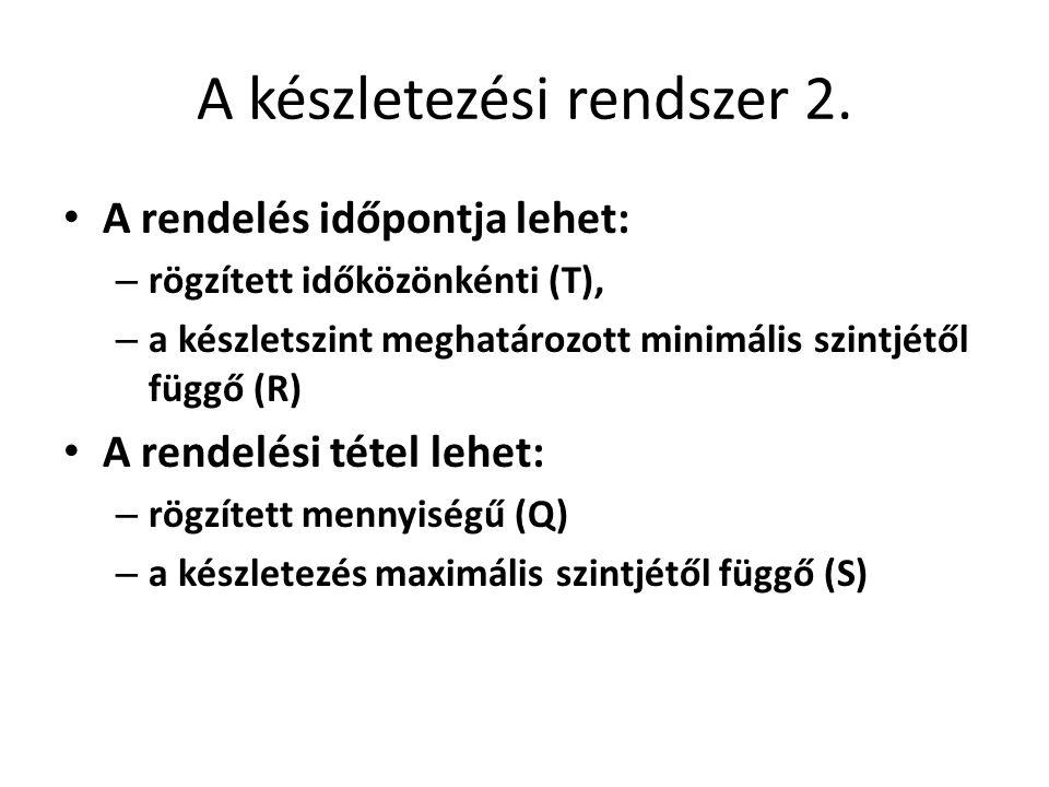 A készletezési rendszer 2. • A rendelés időpontja lehet: – rögzített időközönkénti (T), – a készletszint meghatározott minimális szintjétől függő (R)