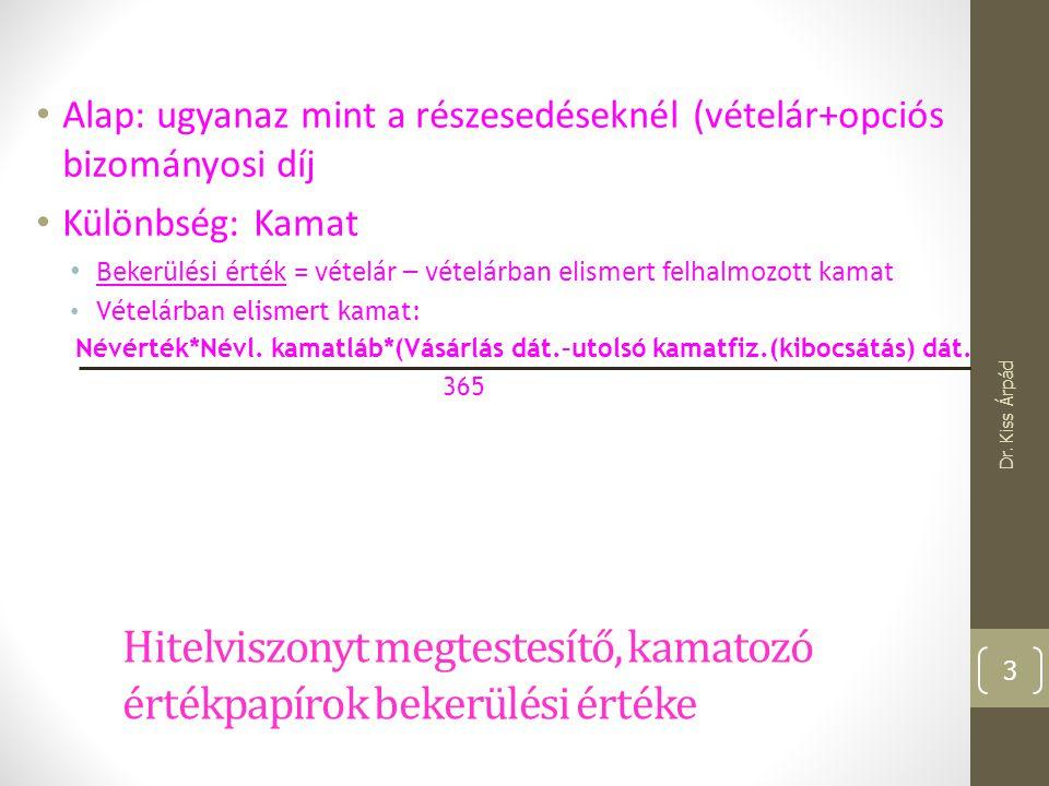 Apport bekerülési értéke Dr. Kiss Árpád 14