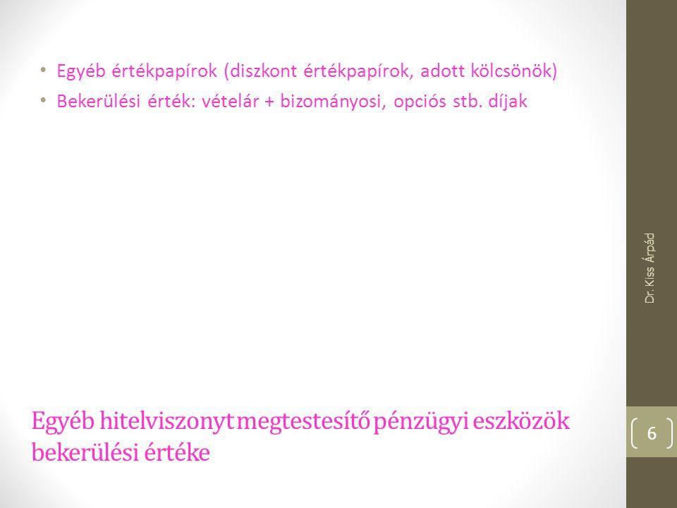 Apport főkönyvi elszámolása III. Dr. Kiss Árpád 17