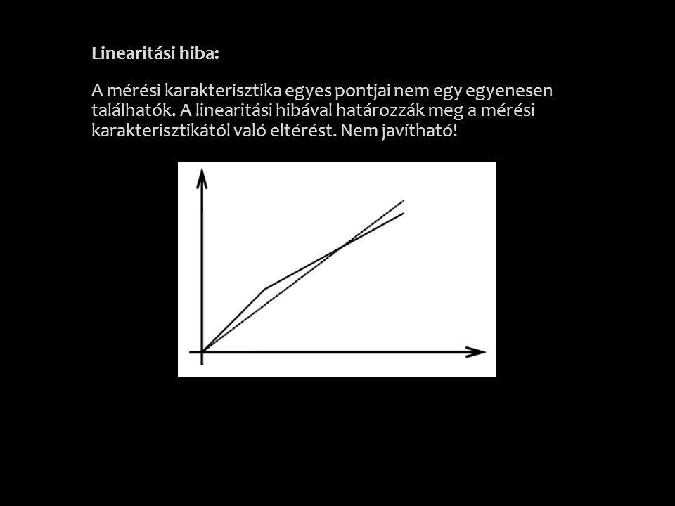 Linearitási hiba: A mérési karakterisztika egyes pontjai nem egy egyenesen találhatók. A linearitási hibával határozzák meg a mérési karakterisztikátó