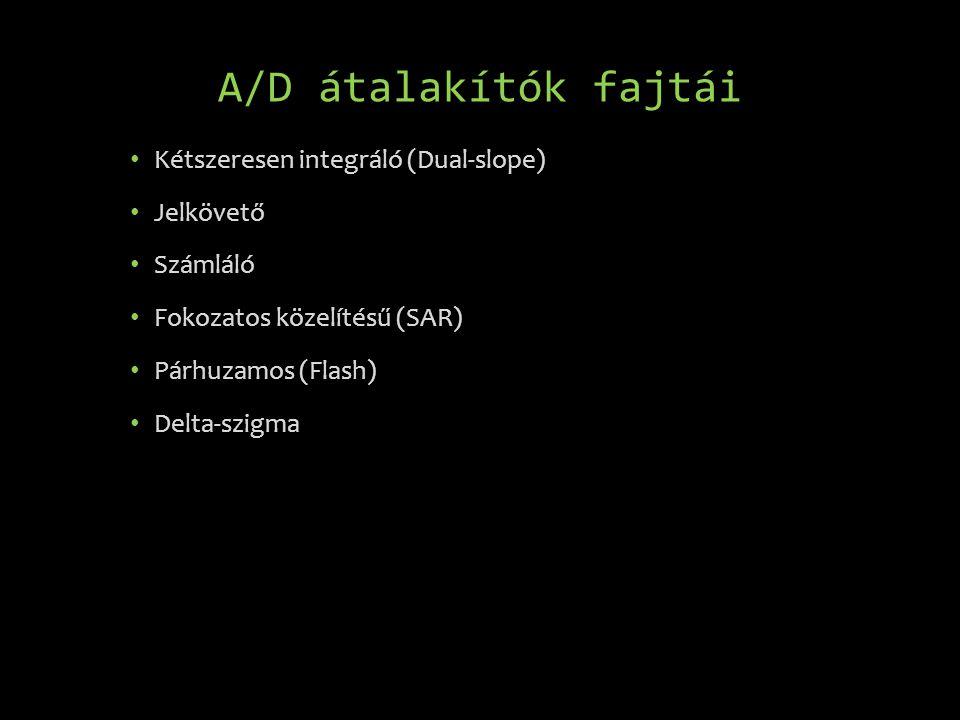 A/D átalakítók fajtái • Kétszeresen integráló (Dual-slope) • Jelkövető • Számláló • Fokozatos közelítésű (SAR) • Párhuzamos (Flash) • Delta-szigma
