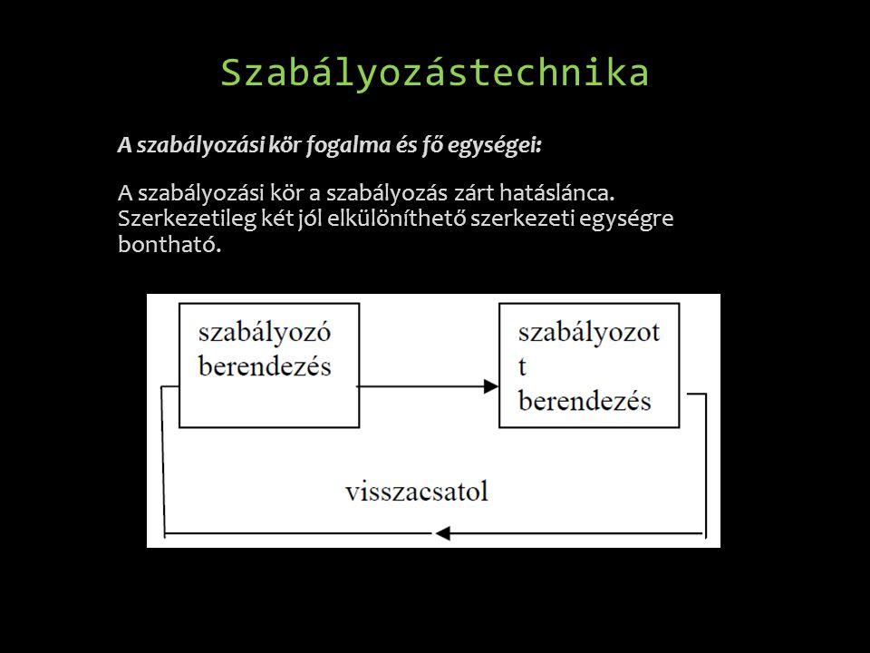 Szabályozástechnika A szabályozási kör fogalma és fő egységei: A szabályozási kör a szabályozás zárt hatáslánca. Szerkezetileg két jól elkülöníthető s