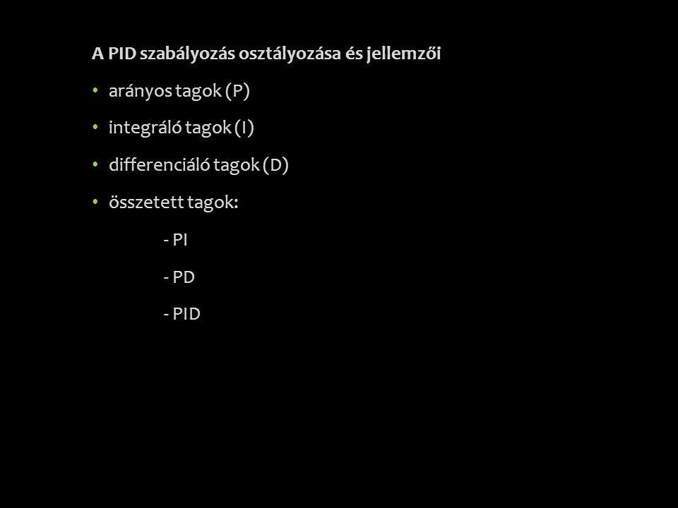 A PID szabályozás osztályozása és jellemzői • arányos tagok (P) • integráló tagok (I) • differenciáló tagok (D) • összetett tagok: - PI - PD - PID