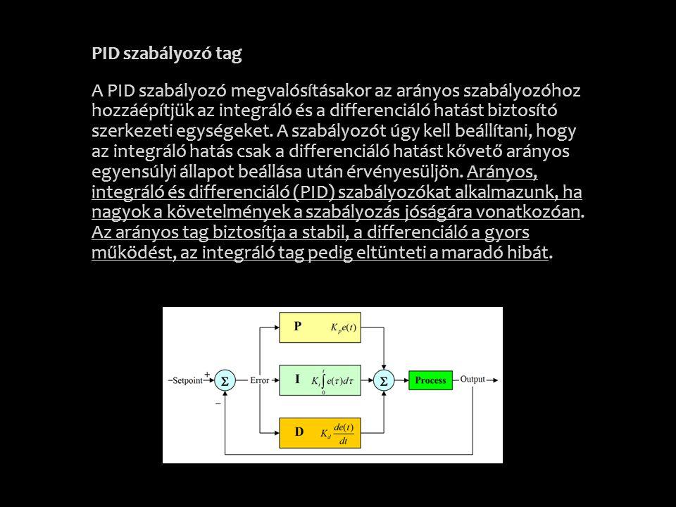 PID szabályozó tag A PID szabályozó megvalósításakor az arányos szabályozóhoz hozzáépítjük az integráló és a differenciáló hatást biztosító szerkezeti
