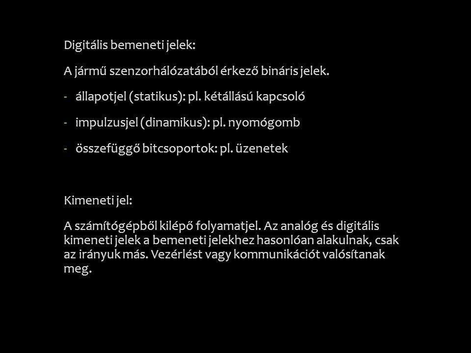Digitális bemeneti jelek: A jármű szenzorhálózatából érkező bináris jelek. -állapotjel (statikus): pl. kétállású kapcsoló -impulzusjel (dinamikus): pl
