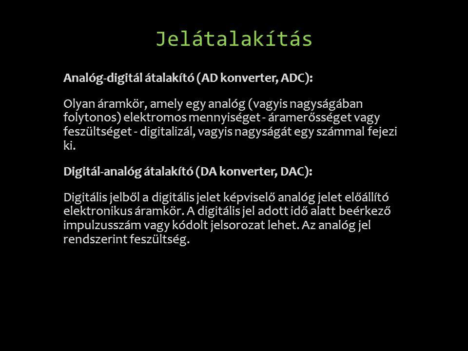 Jelátalakítás Analóg-digitál átalakító (AD konverter, ADC): Olyan áramkör, amely egy analóg (vagyis nagyságában folytonos) elektromos mennyiséget - ár