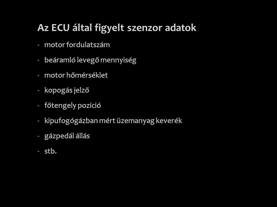 Az ECU által figyelt szenzor adatok -motor fordulatszám -beáramló levegő mennyiség -motor hőmérséklet -kopogás jelző -főtengely pozíció -kipufogógázba
