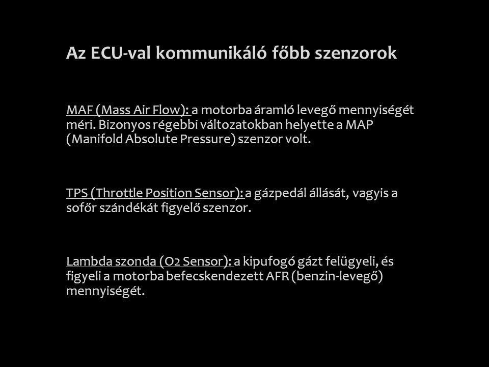 Az ECU-val kommunikáló főbb szenzorok MAF (Mass Air Flow): a motorba áramló levegő mennyiségét méri. Bizonyos régebbi változatokban helyette a MAP (Ma
